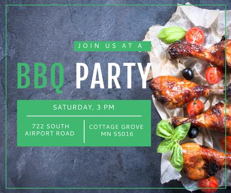 Plantilla de diseño de BBQ Party Invitation Grilled Chicken Facebook