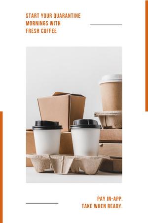Platilla de diseño Online ordering Offer with Coffee to go Pinterest