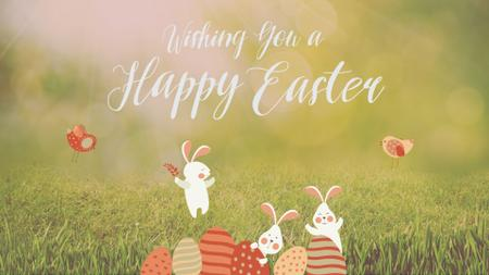 Plantilla de diseño de Easter Bunnies with Colored Eggs on Grass Full HD video