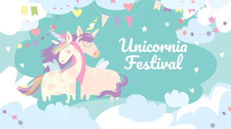 Plantilla de diseño de Bright Festival Announcement with Cute Unicorns FB event cover