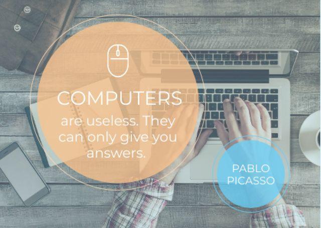 Modèle de visuel Computers quote with Man typing on Laptop - Card
