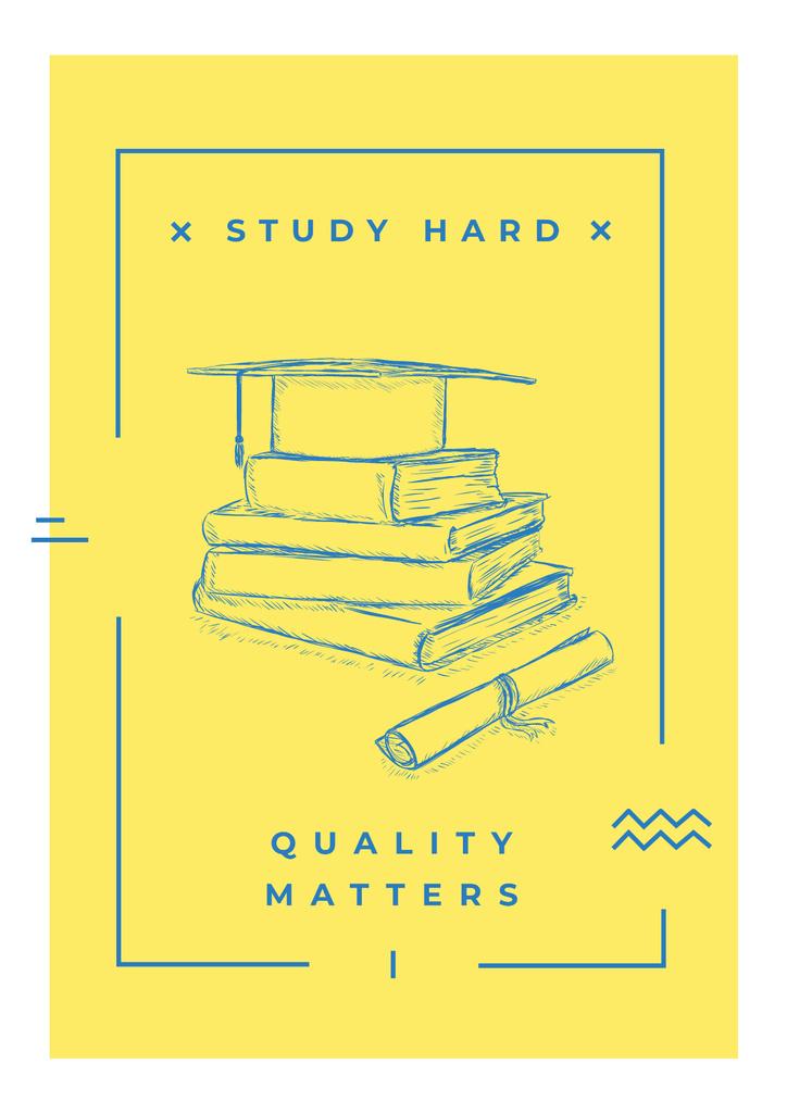 Stack of books with graduation hat — Crea un design