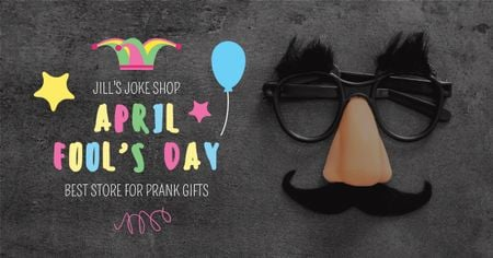 Modèle de visuel Jill's Joke shop for April Fools Day - Facebook AD