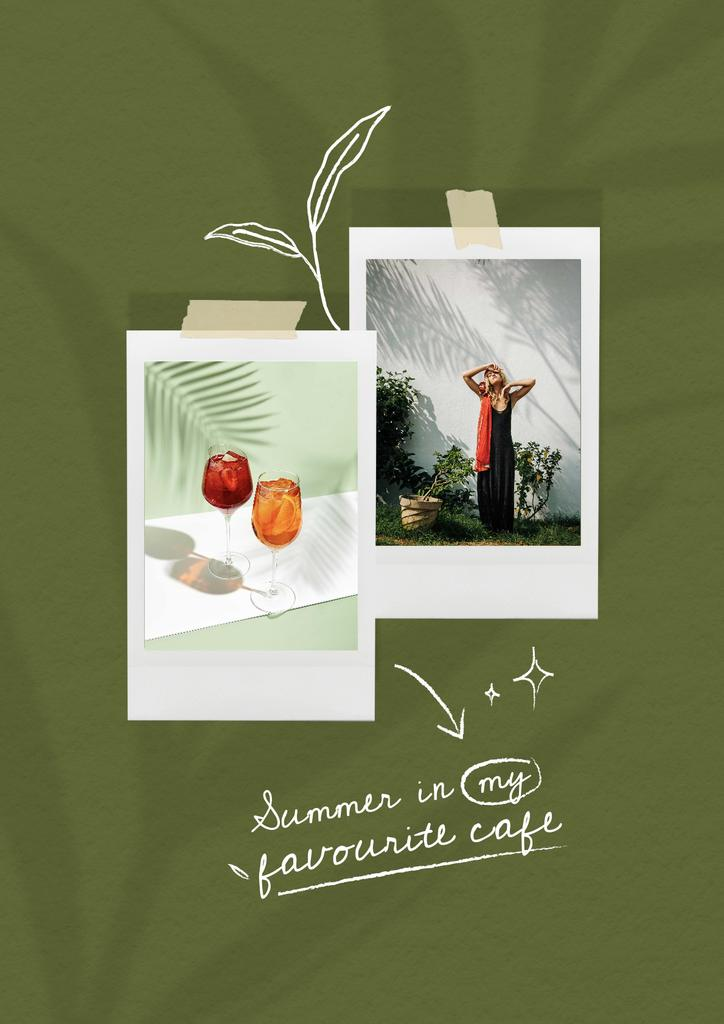 Inspiration with Beautiful Young Woman and Summer Cocktails Poster Modelo de Design