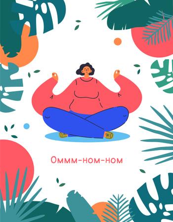 Woman meditating with Funny Phrase T-Shirt – шаблон для дизайна