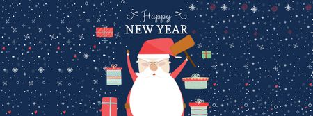 Modèle de visuel New Year Greeting with cute Santa - Facebook cover