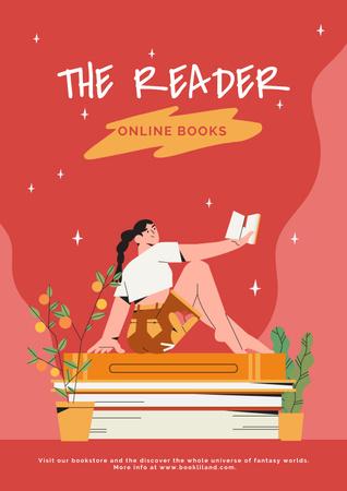 Girl Reading Books Online Poster – шаблон для дизайну