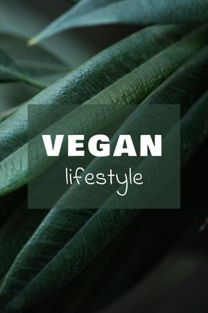 Vegan Lifestyle Concept with Green Leaves Pinterest Design Template