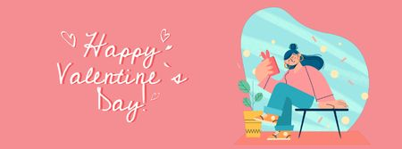 Girl receiving Valentine's Day message Facebook Video cover Tasarım Şablonu