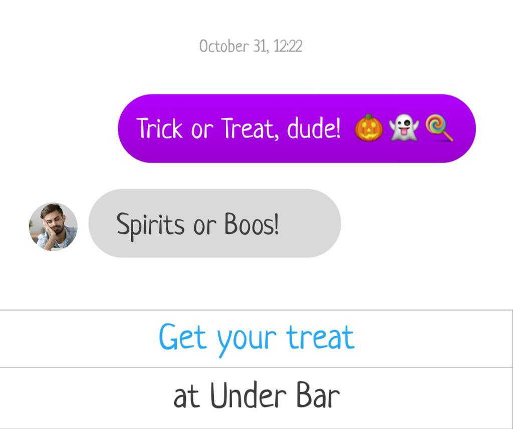Plantilla de diseño de Funny Сhatting about Halloween Facebook