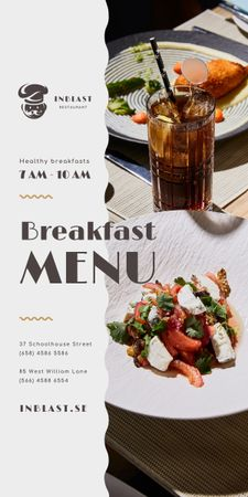 Breakfast Menu Offer with Greens and Vegetables Graphic – шаблон для дизайна