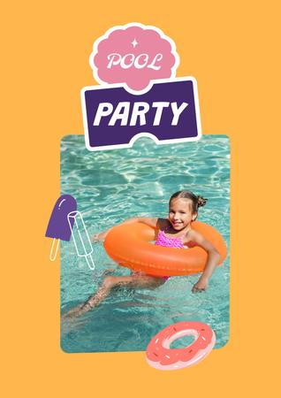 Pool Party Invitation with Kid eating Watermelon Poster Design Template
