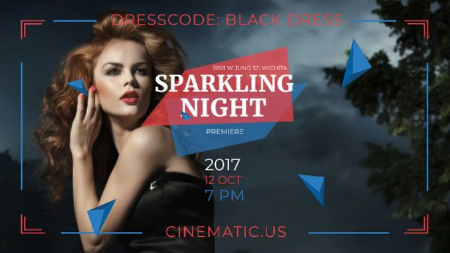 Night Party Invitation Woman in Black Dress Title Design Template