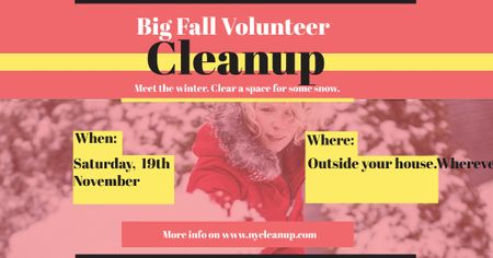 Modèle de visuel Winter Volunteer clean up - Facebook AD