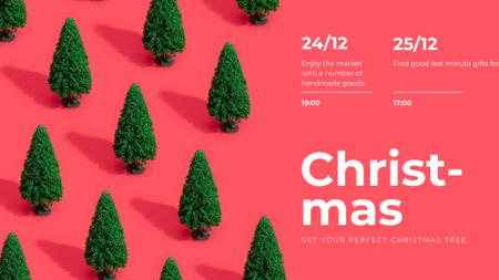 Plantilla de diseño de Christmas Market invitation on Green trees FB event cover