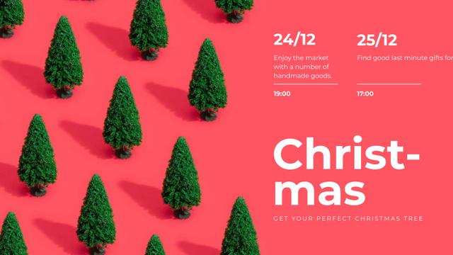 Ontwerpsjabloon van FB event cover van Christmas Market invitation on Green trees