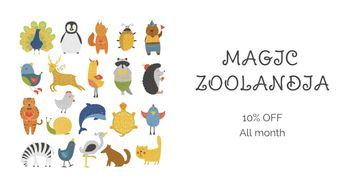 Zoo Tickets Discount Offer with Animals icons