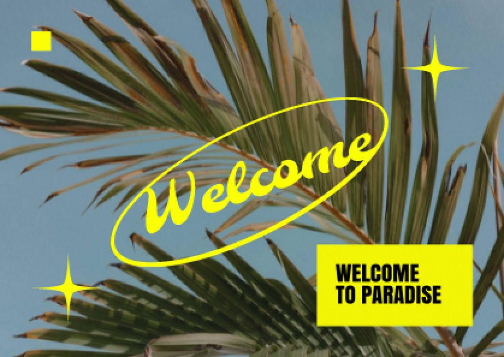Welcome Phrase with Tropical Leaves Card – шаблон для дизайну