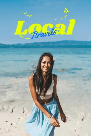 Plantilla de diseño de Local Travels Inspiration with Young Woman on Ocean Coast Pinterest