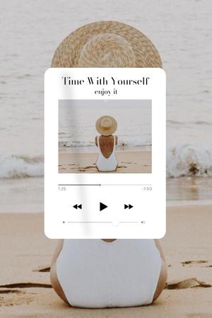 Plantilla de diseño de Mental Health Inspiration with Woman in Lotus Position Pinterest