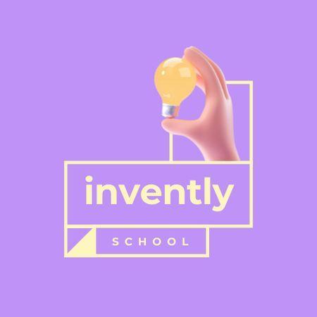 School Ad with Lightbulb Illustration Logo – шаблон для дизайну