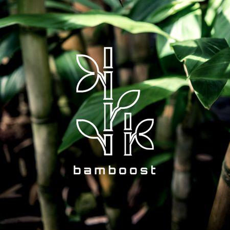 Plants Store Ad with Bamboo Leaves Logo – шаблон для дизайну