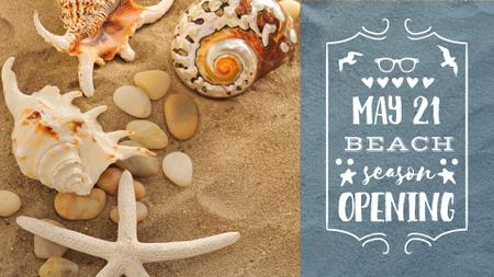Beach opening with Shells on Sand FB event cover – шаблон для дизайна