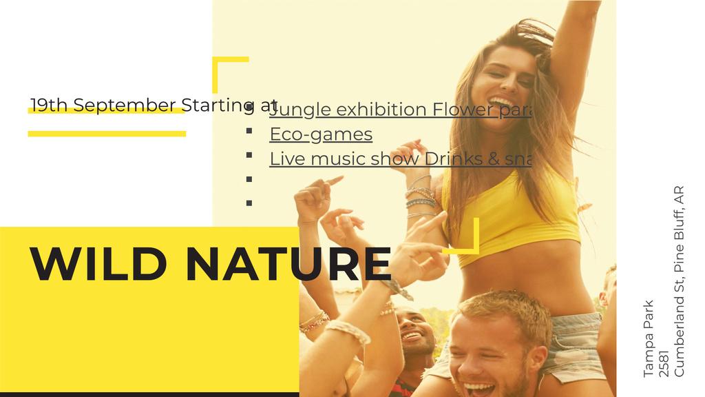 Plantilla de diseño de Young People Dancing at Music Festival FB event cover