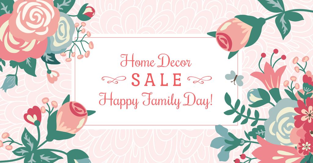 Home decor Sale with Flowers on Family Day — Створити дизайн
