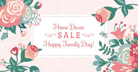 Plantilla de diseño de Home decor Sale with Flowers on Family Day Facebook AD