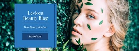 Beauty Blog with Woman in Green Leaves Facebook cover Modelo de Design