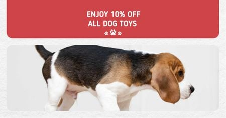 Plantilla de diseño de Dogs Toys `sale Offer with Cute Puppy Facebook AD