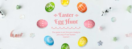 Colored Easter eggs Frame Facebook Video coverデザインテンプレート