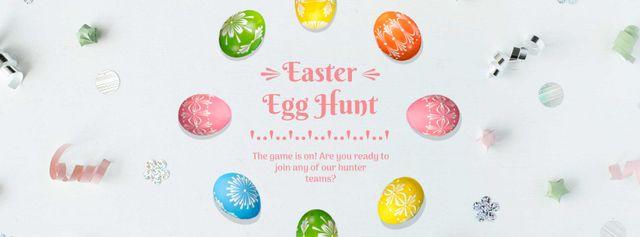 Plantilla de diseño de Colored Easter eggs Frame Facebook Video cover