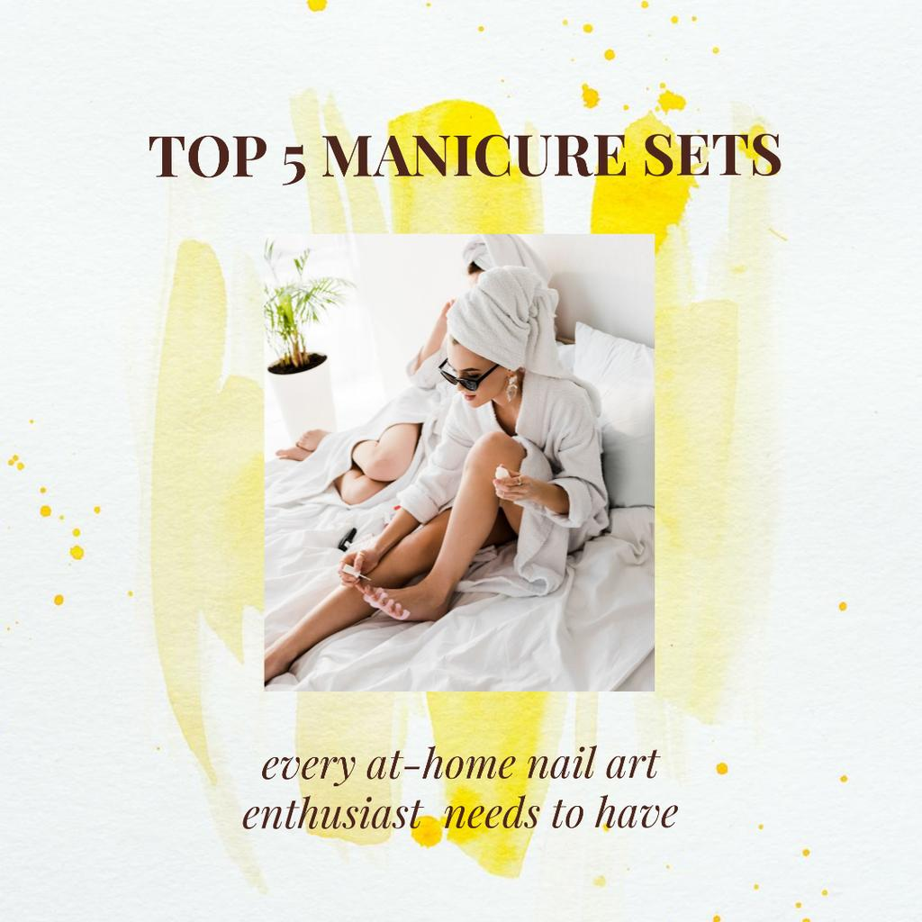Manicure Sets Ad with Woman painting nails at Home - Bir Tasarım Oluşturun