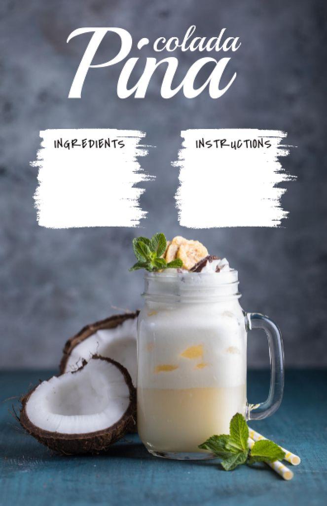 Pina Colada in Glass with Coconuts Recipe Card – шаблон для дизайну