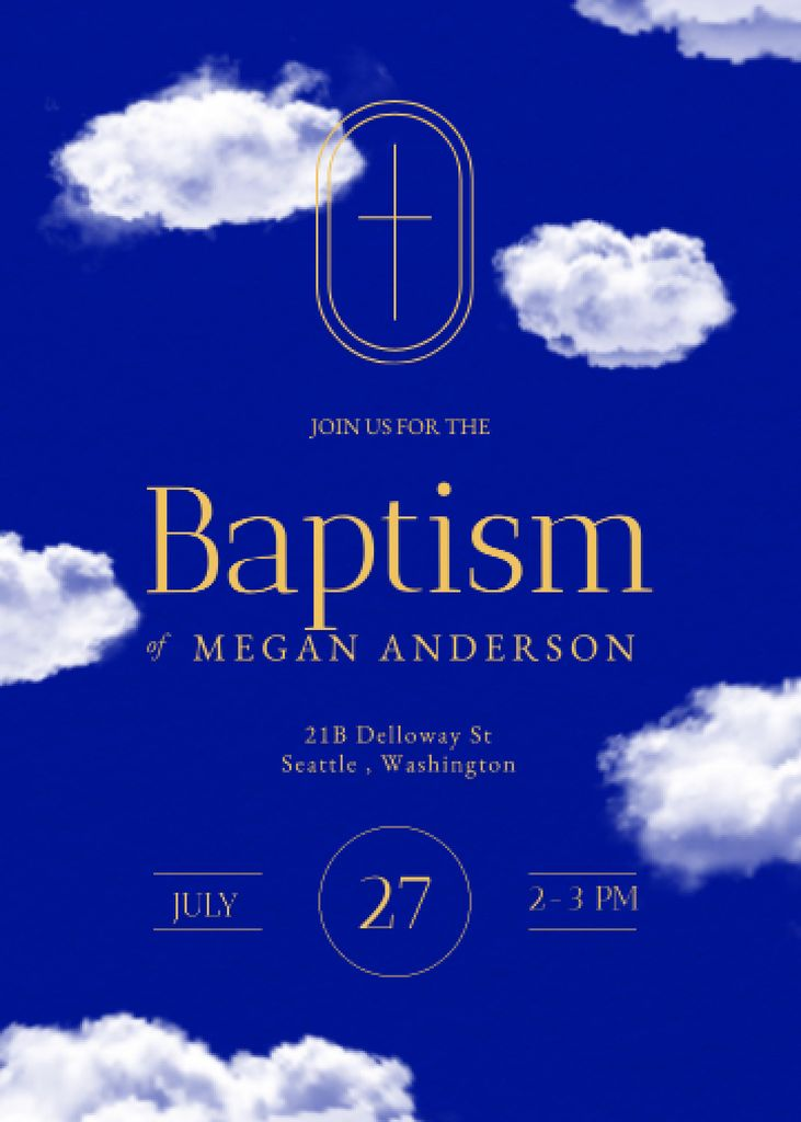 Baptism Ceremony Announcement with Clouds in Sky Invitation – шаблон для дизайна