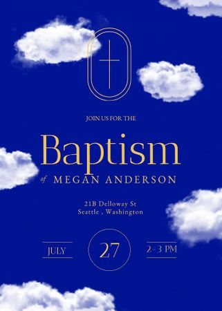 Baptism Ceremony Announcement with Clouds in Sky Invitation – шаблон для дизайну