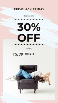 Black Friday Ad Girl resting on armchair