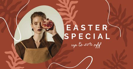 Modèle de visuel Easter Special with Stylish Woman holding Pomegranate - Facebook AD