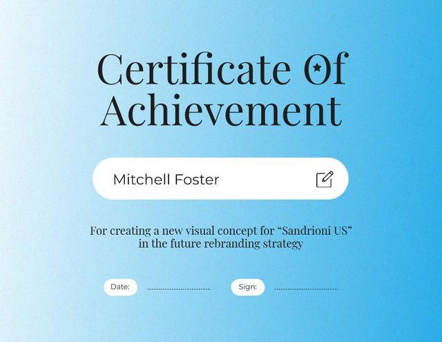 Szablon projektu Business Strategy Achievement Award Certificate