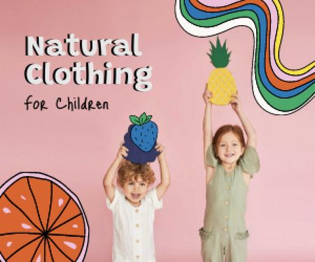 Natural Clothing for Kids Offer Medium Rectangle Design Template