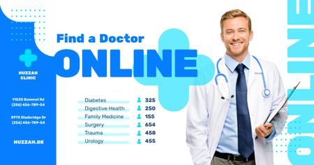 Clinic Promotion Smiling Doctor with Stethoscope Facebook AD Modelo de Design