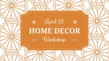 Home decor Workshop ad with floral texture FB event cover Modelo de Design