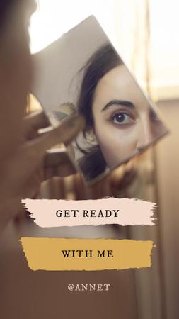 Plantilla de diseño de Beauty Ad with Woman looking in Mirror Instagram Video Story