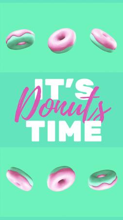 Designvorlage Rows of Yummy Glazed Donuts für Instagram Video Story