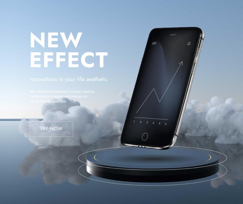 New App Effect with modern smartphone Facebook Modelo de Design