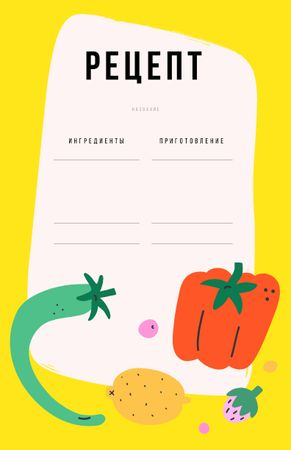 Cute illustration of Raw Vegetables and Fruits Recipe Card – шаблон для дизайна