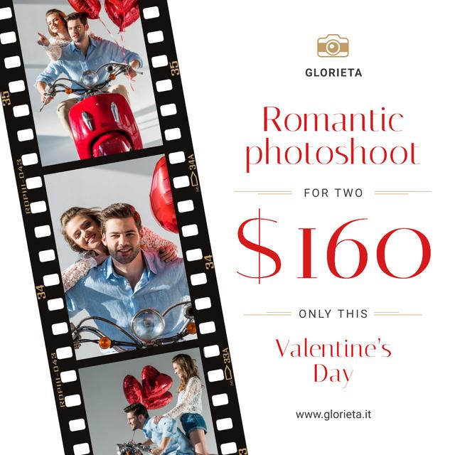 Ontwerpsjabloon van Instagram van Valentine's Day Couple on scooter at Photoshoot