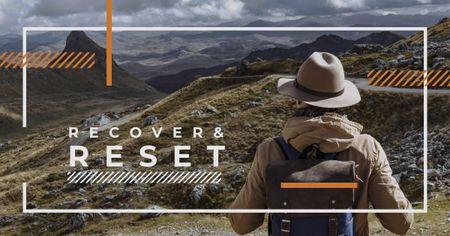 Mountains Hiking Tour Traveler Enjoying View Facebook AD – шаблон для дизайну